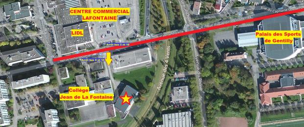 Le gymnase se situe en contre-bas derrière l'arrêt de bus situé entre le collège et le centre commercial Lafontaine.